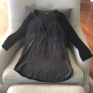 Express size S, 3/4 sleeve shirt with shiny front